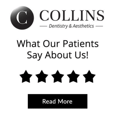 Collins Dentistry & Aesthetics logo with a 5 star patient review
